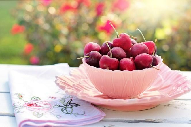 Cerejas, Tigela, Rosa, Frutas, Café da manhã, Manhã, Fresco