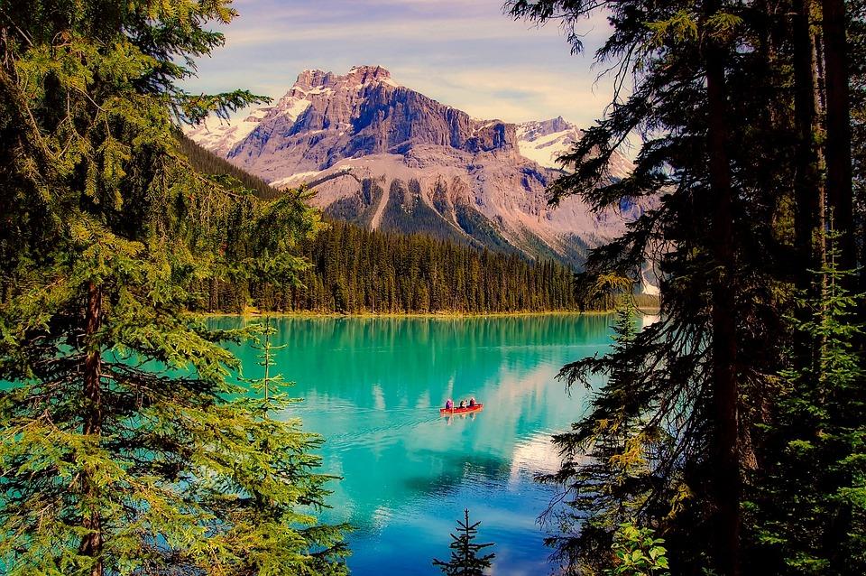 Numa Falls Wallpaper Emerald Lake Canada Boat 183 Free Photo On Pixabay