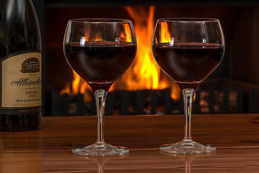 Red Wine, Glasses, Log Fire, Red, Wine