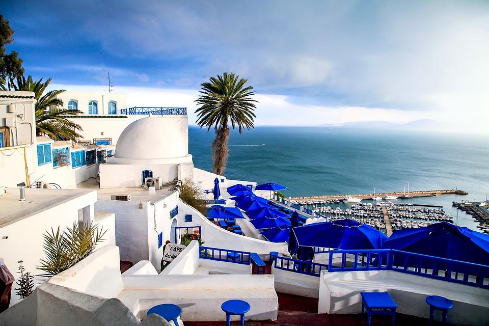 チュニジア, 小町, 海辺, 海, 風景