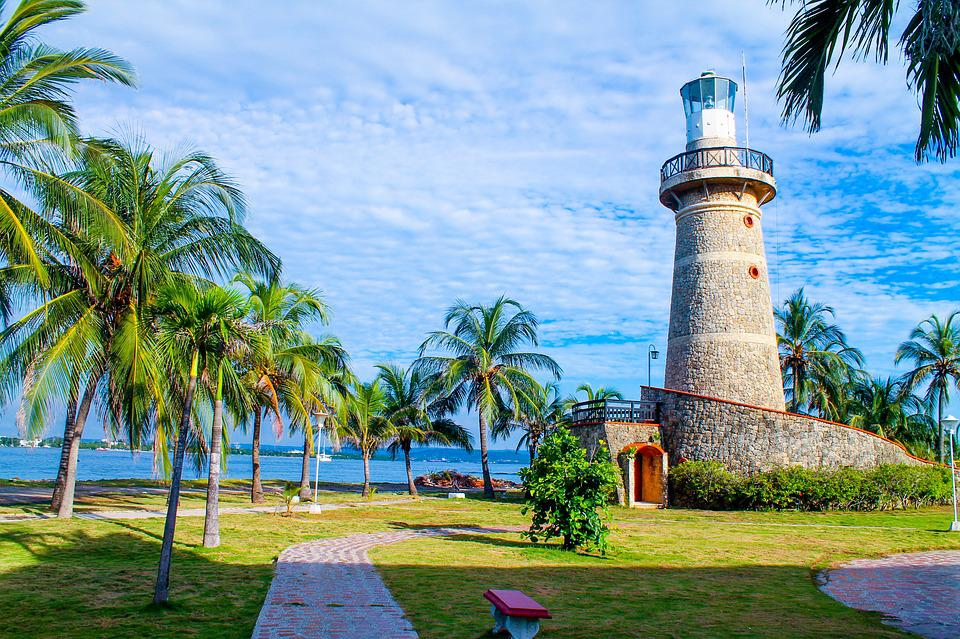 Lighthouse, Cartagena, Colombia, Blue, Green, Peace
