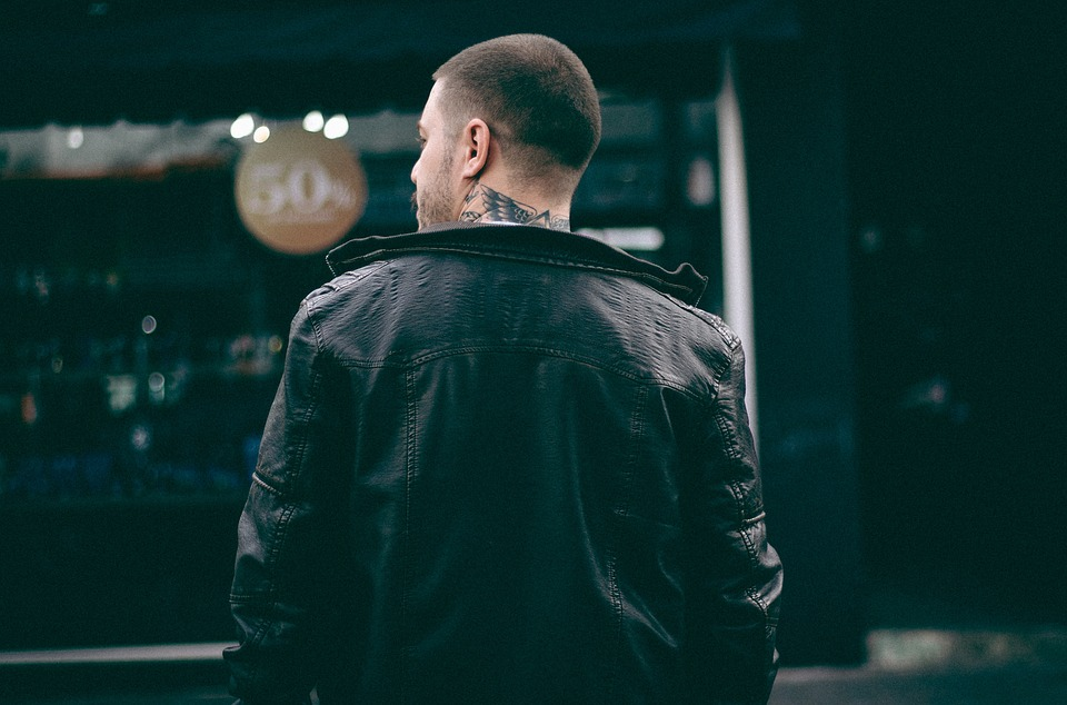 Guy, Man, Back, Black, Jacket, Tattoo, Leather, Bokeh