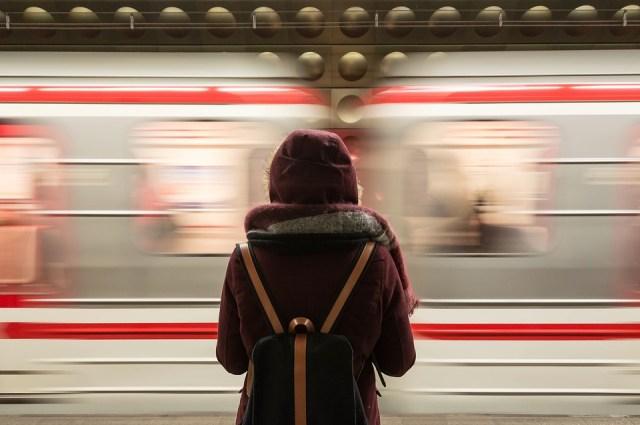 Trem, Estação, Transporte, Pessoas, Menina, À Espera