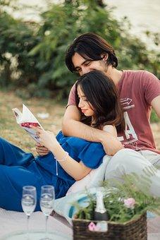 사람들, 커플, 남자, 소녀, 피크닉, 날짜, 사랑, 포옹, 미소