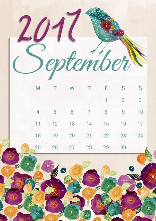 Kalender 2017 September : kalender, september, September, Calendar, Image, Pixabay