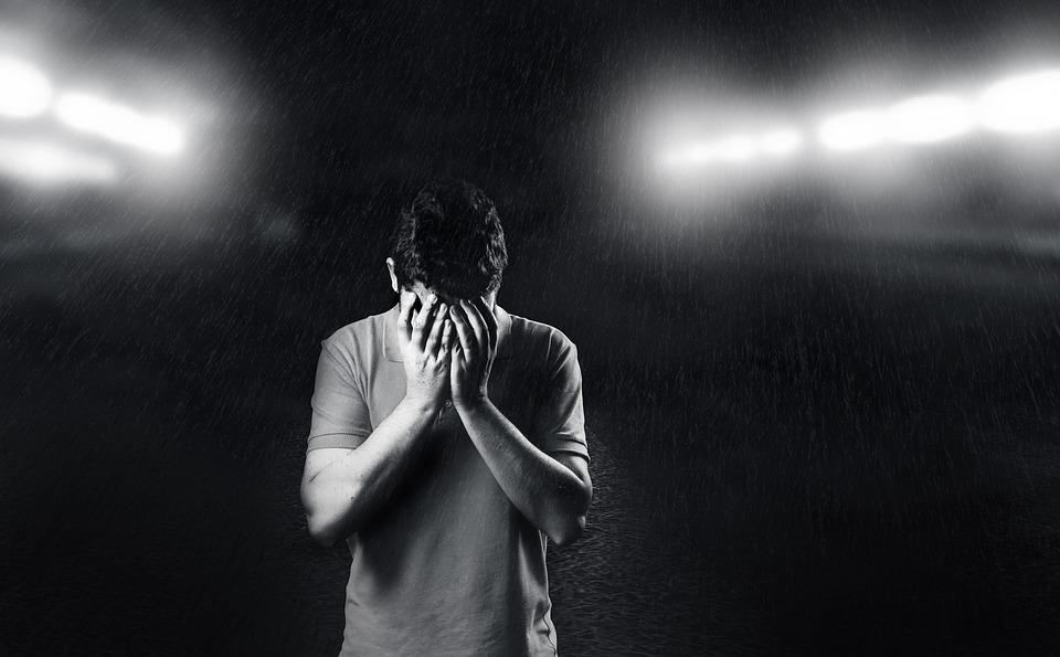 悲しい, 男, 落ち込ん, 悲しみ, 背景, 若, 人, ホワイト, うつ病, ブラック, ヘッド, 男性