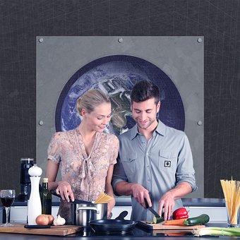 Kitchen, Couple, Cooking, Vegan, date