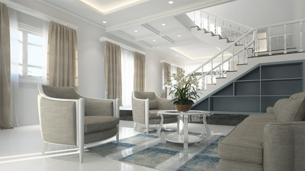 Interior, Salón, Muebles, Neoclásico, Diseño, De Lujo