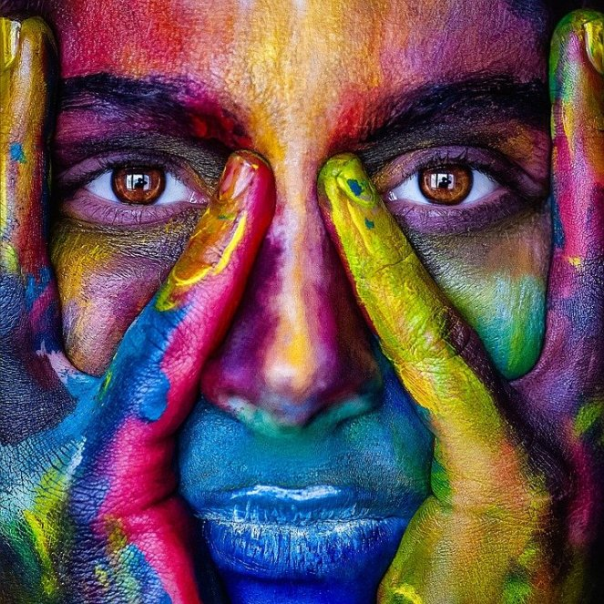 Menina, rosto, colorido, cores, artístico, modelo, pessoa
