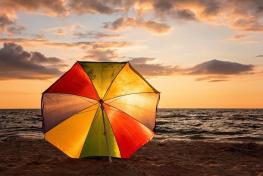 Sunset, Beach Umbrella, Ocean, Landscape, Coast