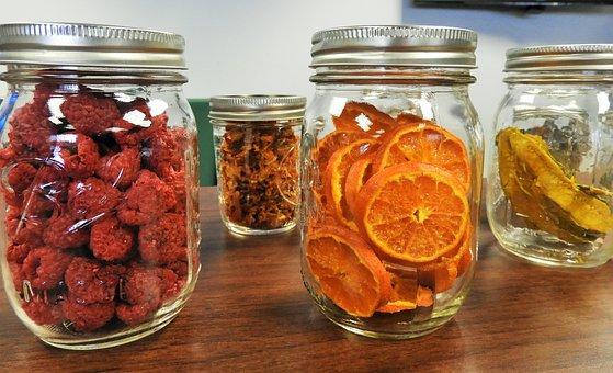 石匠罐子, 脱水, 水果, 桔子, 覆盆子, 保存, 罐头, 准备, 营养