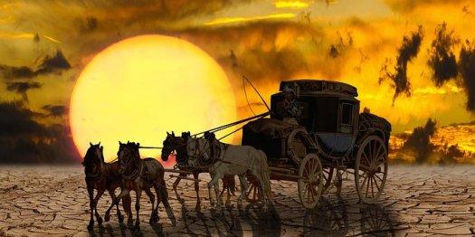 交通機関, ファンタジー, コーチ, 馬, 駅馬車, 風景, 干ばつ, 太陽
