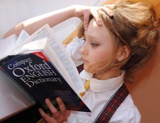 女の子, 英語, 辞書, 研究, 学校, 読み取り, 本, レッスン, 思う, 注意, オックスフォード