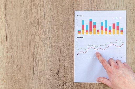 グラフ, ファイナンス, 金融, データ, 統計情報, 投資, 男, 手, 指