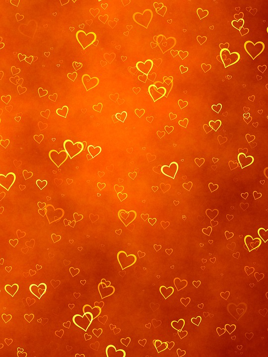 Love Cute Wallpaper Free Download Free Illustration Background Orange Hearts Gold Free