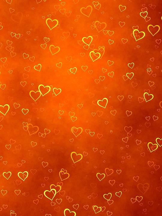 Love Animation Wallpaper Free Illustration Background Orange Hearts Gold Free
