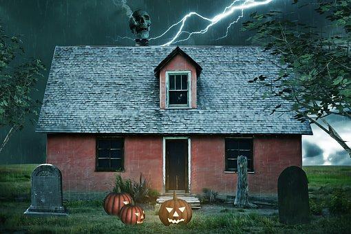 お化け屋敷, 家, 幽霊, ハロウィーン, 不気味な, 泊, 嵐, 雨, 稲妻