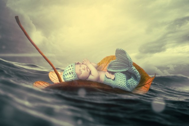 Child, Baby, Water, Wave, Sea, Mermaid, Cute, Young