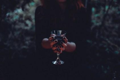ドリンク, ガラス, ハロウィーン, 女性, 血, 儀式, 気味悪い, 悪, 暗い