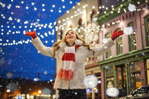 Natale, Felice, Donna, Luci, Gioiosa, Neve