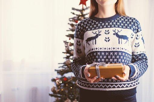 クリスマス, 贈り物, 休日, 女性, 女の子, 箱, お祝い, 白い