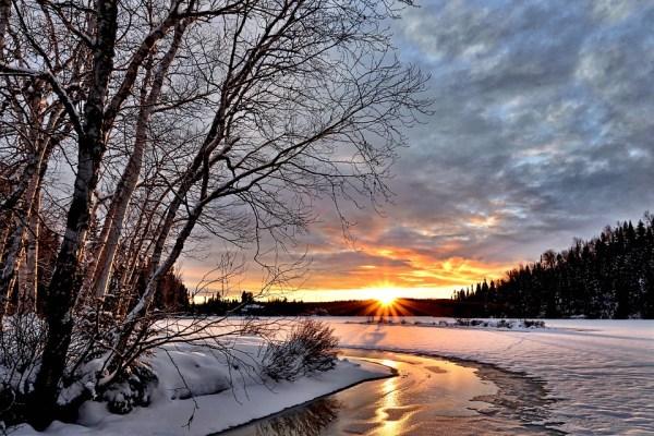 winter landscape sunset twilight