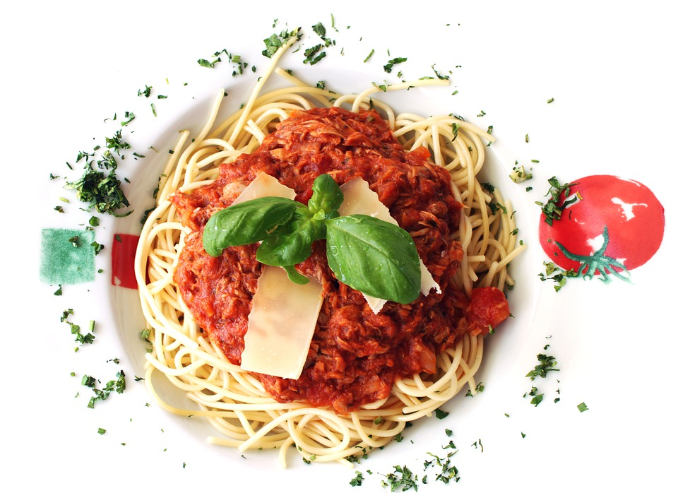 음식, 파스타, 스파게티, 바질, 건강 한, 식사, 저녁 식사, 전통적인, 요리, 점심 식사