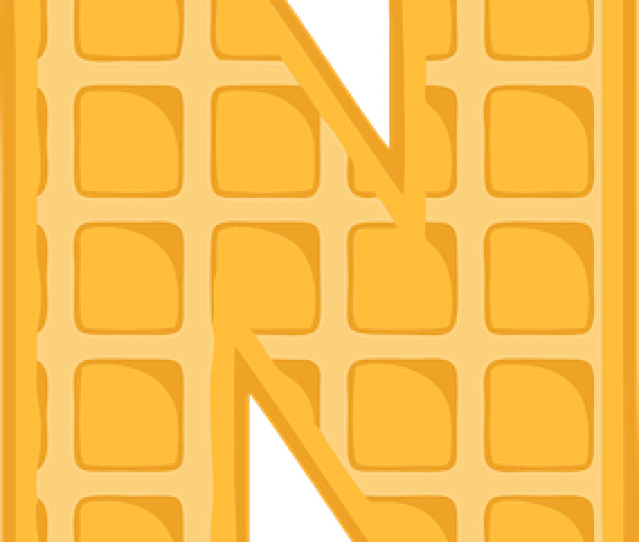 N Alphabet Waffle Letter Typography