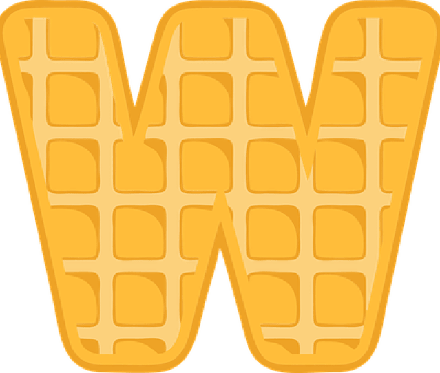 W Alphabet Waffle Letter Typography