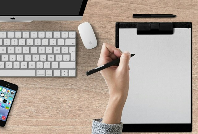 Writing Pad, Hand, Clipboard, Computer, Workplace