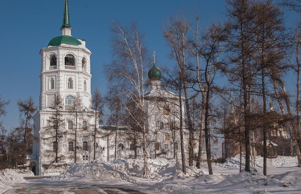 Irkoutsk, Église, Orthodoxe, Paysage D'Hiver, Religion