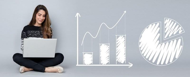 Analytics, Gráficos, Negócios, Mulher, Laptop