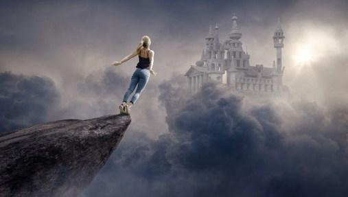 ファンタジー, 雲, 女性, 城, 太陽, 空, 大気, 光, 夢, Float 型, 神秘的な, 風景