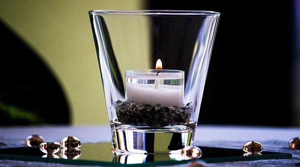 Glas, Reflexion, Kerze, Teelicht