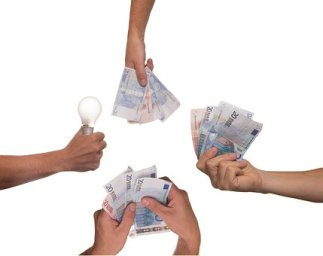 Crowdfunding, Idee, Birne, Geld, Projekt von privaten Kreditgebern.