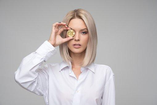女性, 若いです, 大人, ファイナンス, 暗号通貨, Bitcoin, お金