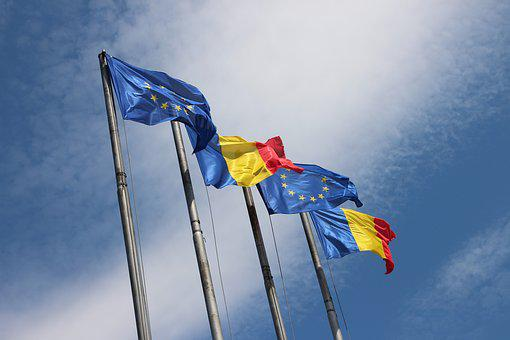 Roumanie, Ue, Drapeaux, Europe, Drapeau