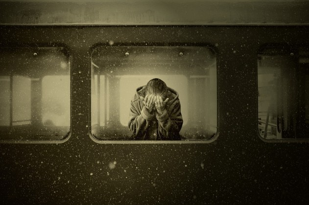 女性, 電車, Zugabteil, 別れ, 喪, 絶望, 感情, 孤独な, 孤独, 放棄された