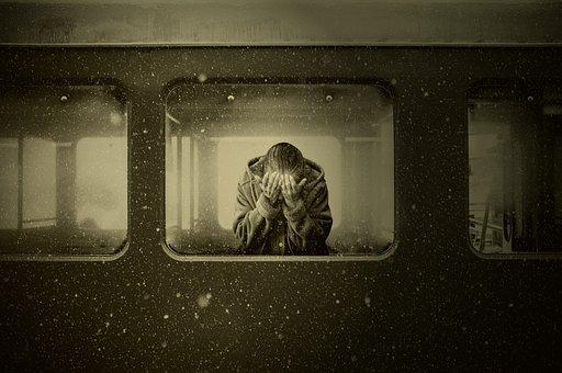 Woman, Train, Zugabteil, Farewell