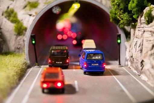 トンネル, トラフィック, 交通渋滞, ミニチュア, 信号機, 旅行する