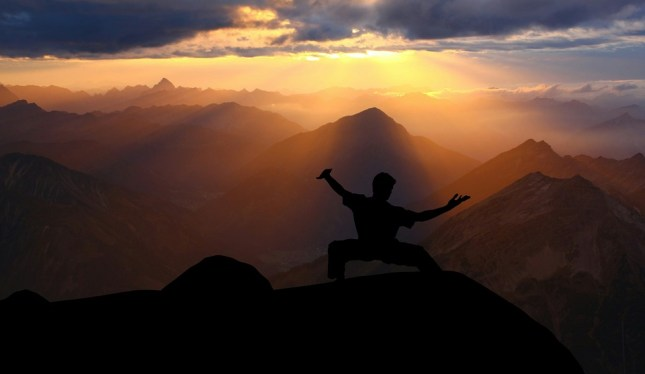 Acción, Kung Fu, Sundown, Silueta, Montaña, Karate