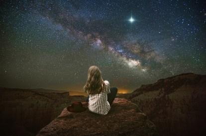 ファンタジー, 風景, 山, 出演者, 空, Nightsky, 女性, 女の子, バルコニー