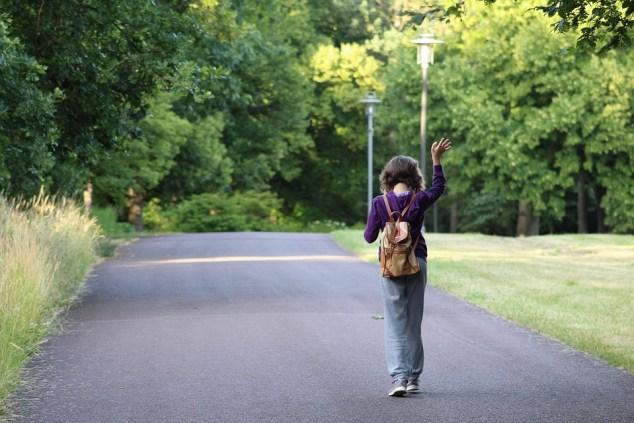 ウォーキング, 離れた, 公園, 歩く, 行く