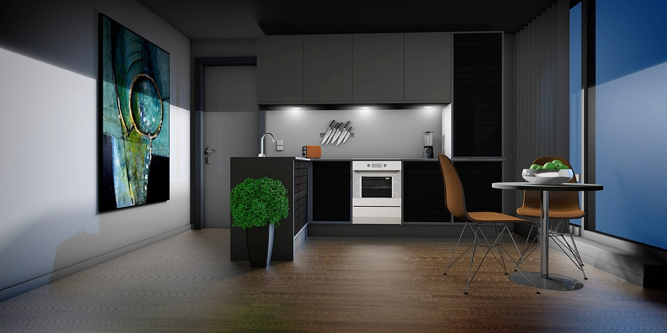 virtual kitchen white lacquer cabinets 厨房起居室公寓 pixabay上的免费图片 厨房 起居室 公寓 图形 呈现 架构 可视化 房地产 3d 设计 虚拟 规划 绘画