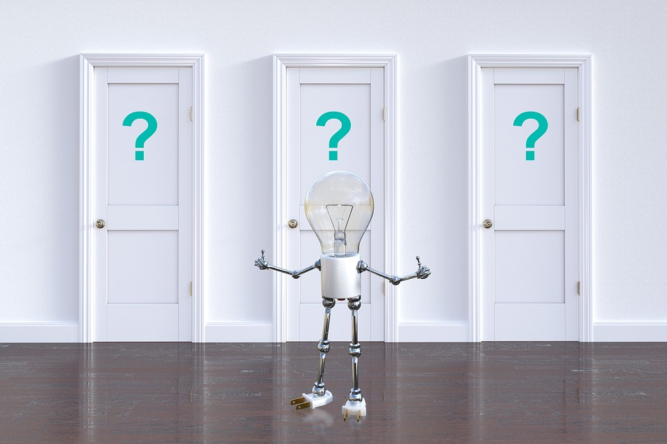 質問マーク, 選択, 意思決定, 電球, 質問, ソリューション, 問題, 答え