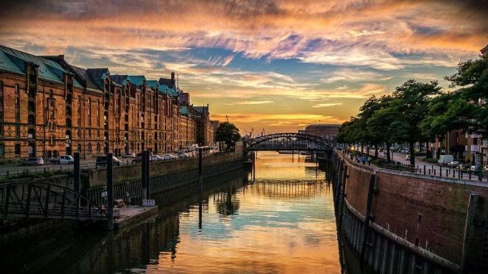Hambourg, Speicherstadt, Canal, Maisons, Allemagne