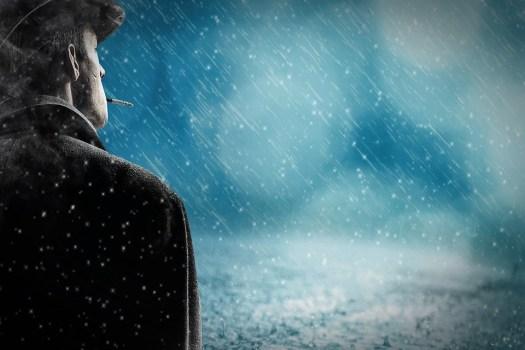 Uomo, Pioggia, Pioggia Neve, Da Solo, Sigaretta