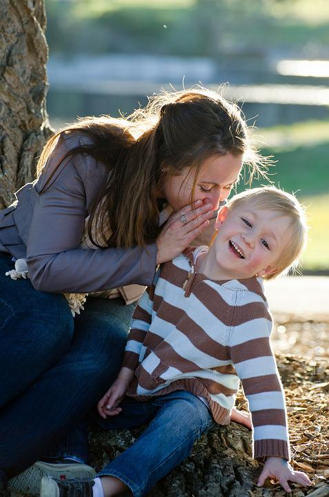 Mother, Boy, Son, Whisper, Love, Laughter, Secret, Park