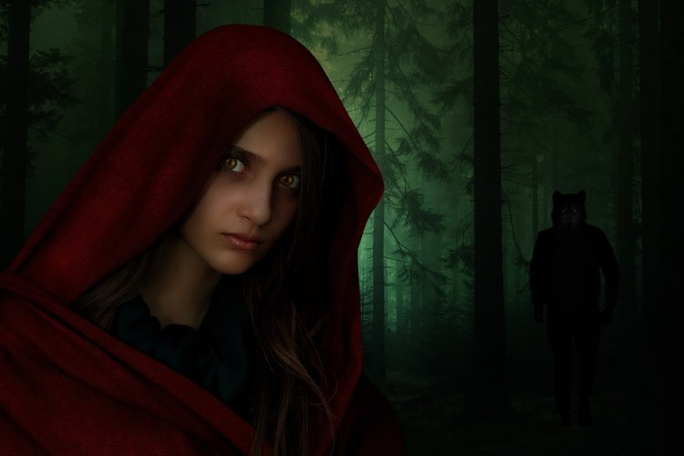 Red Riding Hood, Woman, Girl, Red, Wolf, Man
