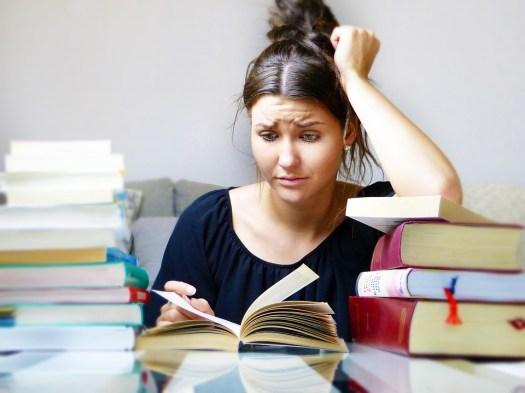 Libri, Donna, Ragazza, Studio, Imparare, Stress